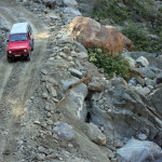 Navigating a high mountain road in the Helambu region