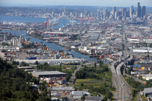 The Duwamish River industrial corridor that leads and dumps  to Elliot Bay