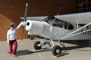 Pilot Linda Chism with her Piper Super Cub at Auburn airport
