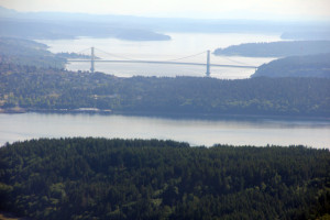 The Tacoma Narrows Bridge after two passes over the Duwamish River we were able to cruise a bit south over Puget Sound before returning to Auburn airport.