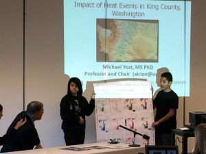 Seattle Chief Sealth High School students presenting their research to WA Gov Jay Inslee at South park Community Center