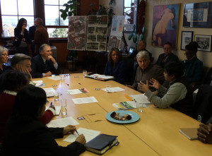 WA Gov Jay Inslee meeting with community leaders  at Climate Tour stop at Centro de la Raza in Seattle.