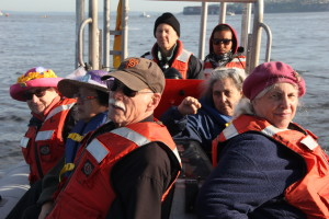 Raging Grannies On Board a Greenpeace Boat in Seattle at Shell No! Protest