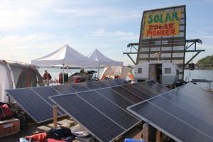 Solar Panels on the Floating Solar Pioneer Protest Barge in Seattle Harbor