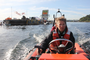 Greenpeace Boat Driver at Shell No! Protest with Raging Grannies