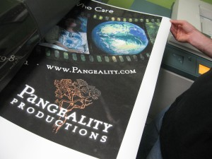 Printing new Pangeality Prodcutions banner for conference booth