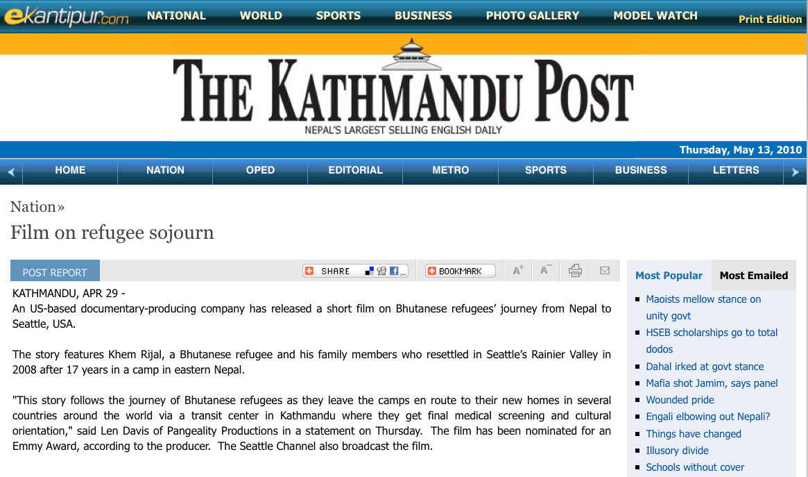 Article in Nepali newspapers 'Republica' & Kathmandu Post about our