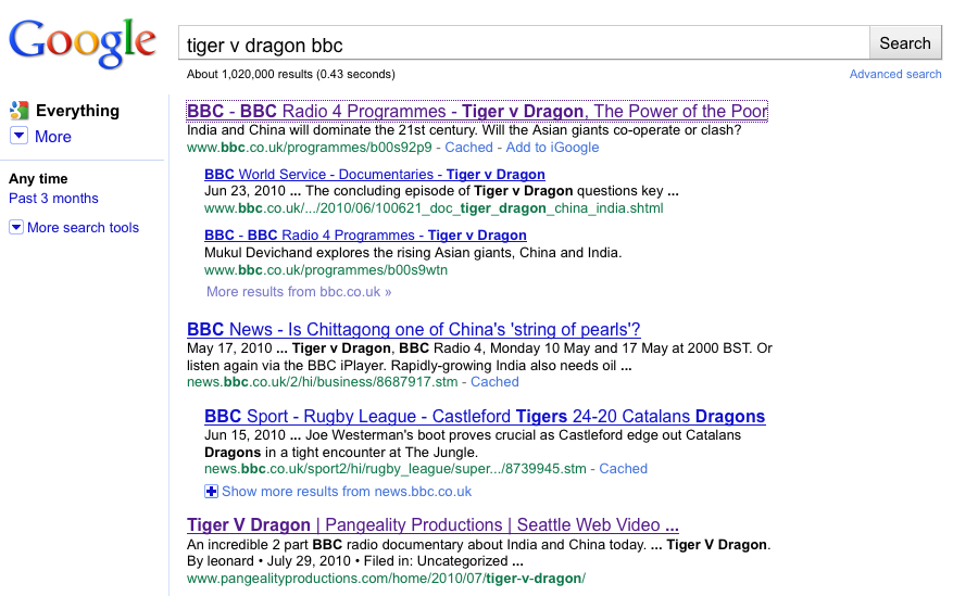 GOOGLE TIGER V DRAGON