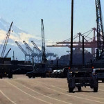 Mt Rainier towering over the Port of Tacoma