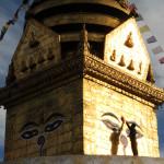 Polishing up the portal at Swayambu