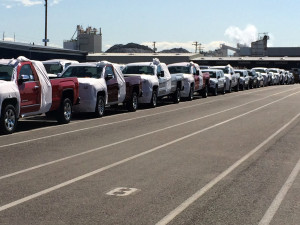 New and rental cars for summer tourists shipping up to Alaska.