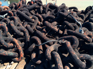 Old metal chains leaching heavy metals into runoff