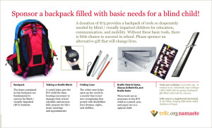 TRIFC has designed a backpack kit with the tools necessary for blind students in Nepal