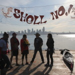 On The Solar Pioneer Floating Barge at Shell No! Campaign in Seattle