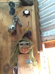Random items decorate a metal arts studio in the Fenpro building in Ballard, Seattle