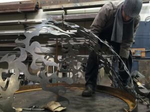 Seattle Artist Jonathan Clarren Assembling a Metal Sculpture