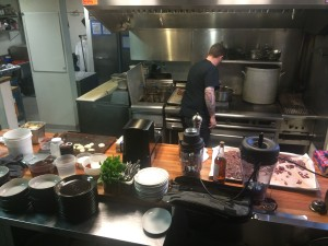 SPUR Gastropub chef Jeff Vance preparing recipe during Star Chefs video demo sponsored by Vitamix